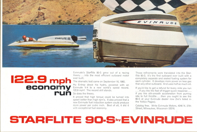 1964 Evinrude Starflite 90-S Outboard Motor print ad