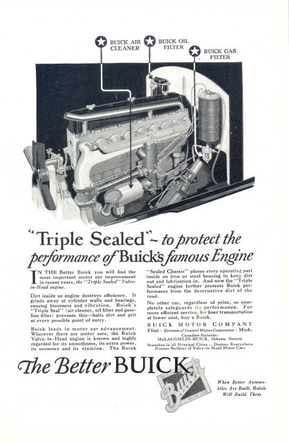 1926 Buick Triple Sealed Valve-in-Head engine print ad