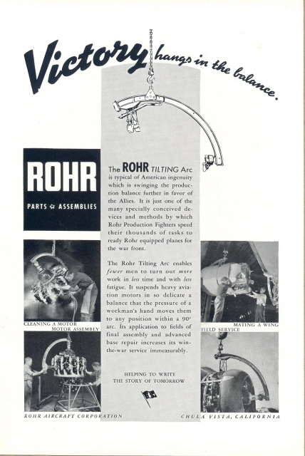 1943 ROHR Aircraft Co. Parts & Assembilies print ad