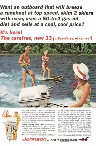 1965 Johnson 33 outboard motor water skiers print ad