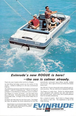 1967 Evinrude Rogue gull wing hull outboard motor print ad