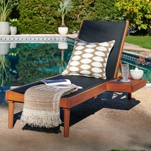 Natural Eucalyptus Wood Black Sling Chaise Lounge Outdoor Pool Lounger w... - $326.20