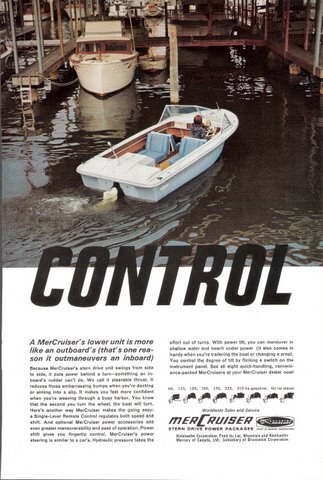 1950 MerCruiser outboard motor boat dock print ad