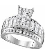 10kt White Gold Womens Round Diamond Rectangle Cluster Bridal Wedding En... - $898.91