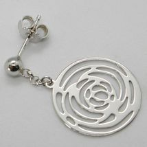 Drop Earrings White Gold 750 18K Polished and Pierced with Roses Made in Italy image 3