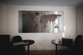 WorldMap WoodBackground 4'x8' / Wall Decor / Metal Signs / Stainless Ste... - $1,595.00