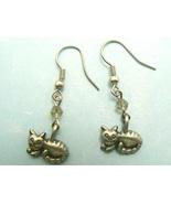 Lying Striped Cat Pewter Earrings - $5.95