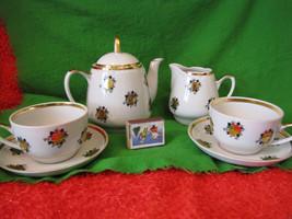 USSR RPR Riga Tea set Cup saucer Tea coffe pair Creamer  teapots Gold Roses - $83.80