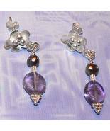 Sterling Silver Amethyst and Freshwater Pearl Earrings - $15.00