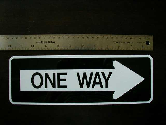 MINI MINIATURE ONE WAY TRAFFIC SIGNS METAL