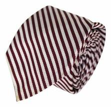 VTG ROBERT TALBOTT Narrow NECK TIE 100% Silk Silver Maroon Striped Made ... - $14.01