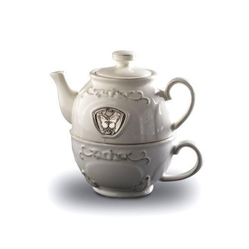 Cypress Butterfly Baroque Style White Ceramic Tea for One Teapot with Cup