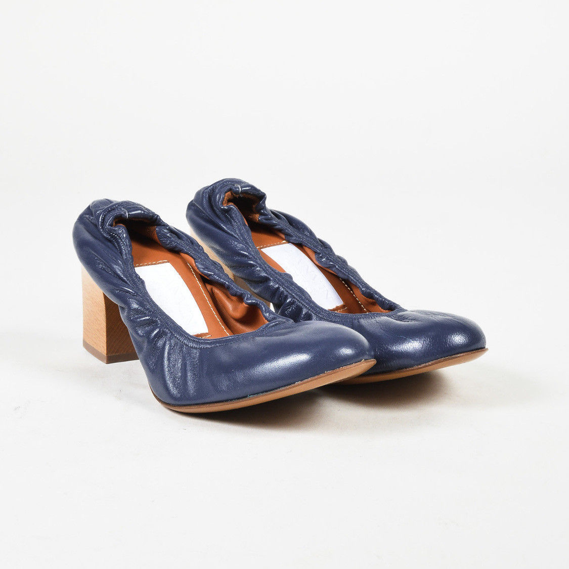 Lanvin Blue Leather Rounded Toe Block Heel Pumps SZ 39