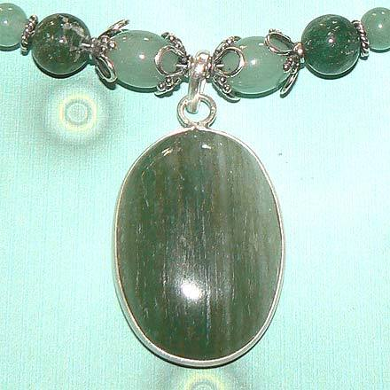 Sterling Silver Green Aventurine Necklace Turtle Beads