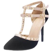 Wild Diva Women's Pointy Toe Gold Stud T-STRAP Stiletto Pump Black Suede 8.5 M - $32.07