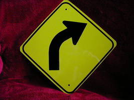 "Mini Miniature Right Curve Traffic Signs Metal 8"" - $5.00"