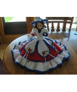 Vintage Bed Doll Hand Crochet Red White & Blue ... - $34.97