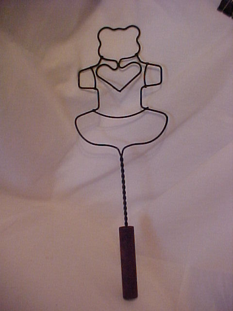Vintage Teddy Bear Rug Beater Wire Wood Handle Wall Decor