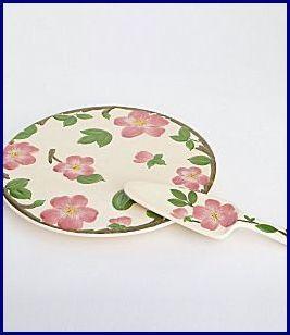 Franciscan desert rose cake plate with server