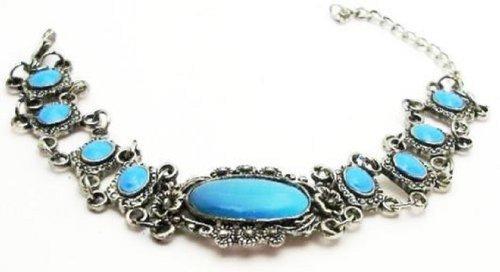 Antique-Style Fashion Jewelry Oval Blue Stone Fashion Bracelet