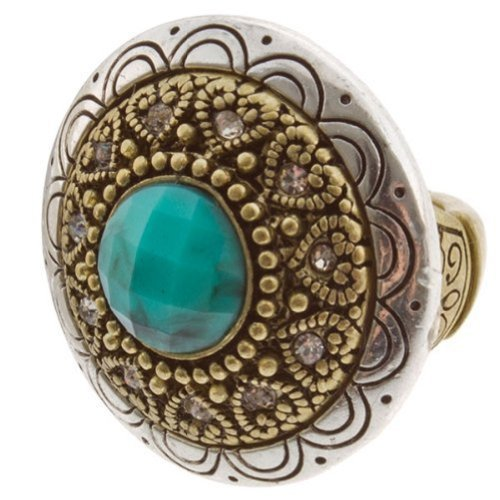 Antiqued Style Dual Tone Medallion Fashion Ring with Blue Stone