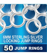 50 Locking JUMP RINGS Sterling Silver 6mm Heavy... - $36.46
