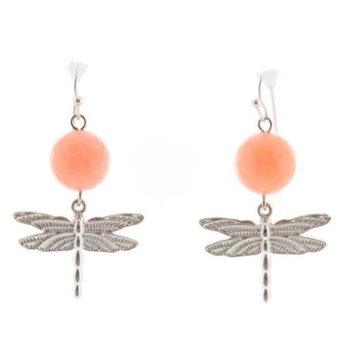 Coral Stone Dragonfly Drop Fashion Earrings