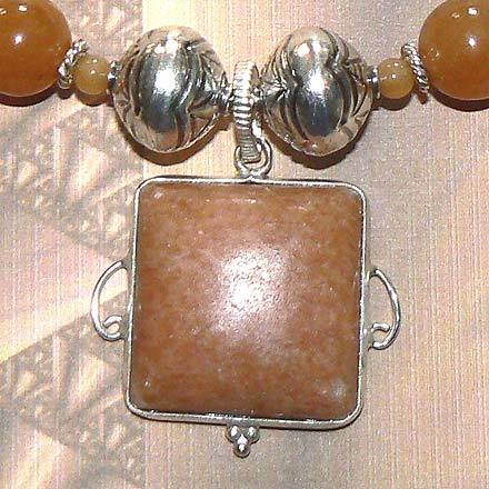Sterling Silver Red Aventurine Necklace