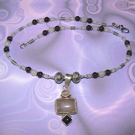 Sterling Silver Rose Quartz and Amethyst Necklace