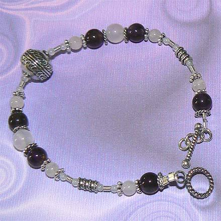 Sterling Silver Rose Quartz and Amethyst Bracelet