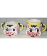 VINTAGE LIPPER & MANN CREATIONS FROM JAPAN Creamer & Sugar Cow Face - $25.00