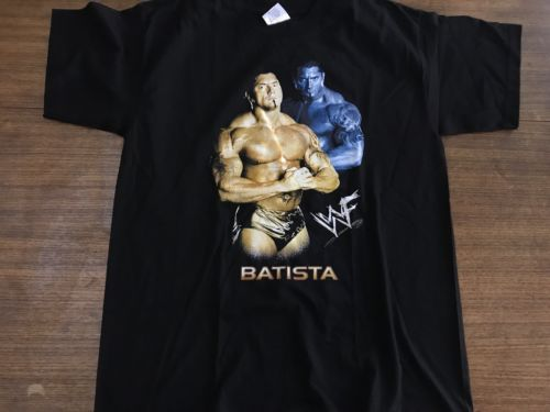 Primary image for BATISTA THE ANIMAL BLACK T SHIRT WWE OFFICIAL SHIRT One Size Mint Muscles