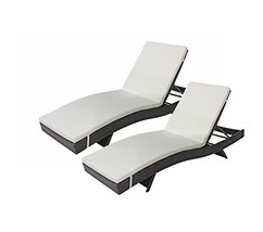2-Pack All-Weather Modern Outdoor Patio Chaise Lounge Chairs Brown - $379.18
