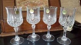 "Cristal D'Arques Longchamp stemmed goblet 7 1/4"" tall - 4 ct. b - $16.00"