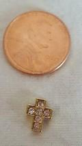 Nnt Tiny Authentic Origami Owl Goldtone Rhinestone Cross Floating Charm - $4.94