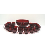 Vintage Red Glass Punch Bowl and Cups Set of 25 - $695.00