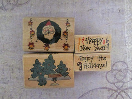 Trena Hegdahl and Annie Lang 1998 Christmas and New Year Rubber Stamps  - $12.00