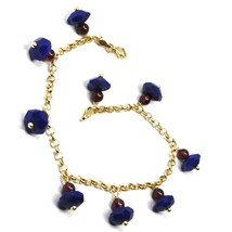 18K YELLOW GOLD BRACELET, OVAL FACETED LAPIS LAZULI PENDANT, ROLO LINKS 2.5mm image 2