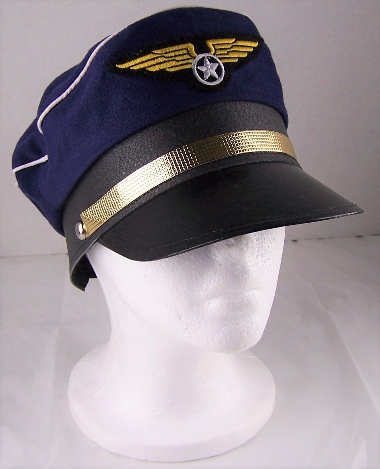 Pilot Hat Costume Mens Women Airplane Accessory Blue Adjustable Wings Snap Back