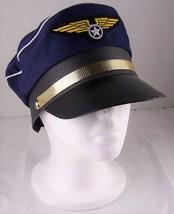 Pilot Hat Costume Mens Women Airplane Accessory Blue Adjustable Wings Sn... - €6,16 EUR