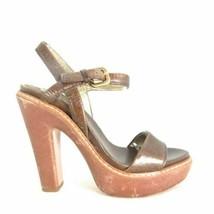 36.5 / 6 US - PRADA Brown Leather Platform Gorgeous Ankle Wrap Heels 0000MB - $65.00