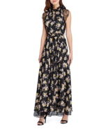 NWT TAHARI ASL BLACK FLORAL LACE BELTED  MAXI DRESS GOWN SIZE 16 $238 - $109.24