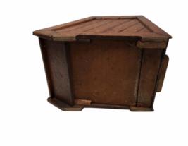 Vintage Antique Oak Wood Box Lid Scuttle Ash Coal Fireplace Liner Hearth Storage image 7