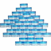 50 3ml round empty jars with blue lids, great for makeup, lotion & balm ... - $11.88
