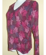 Deane & White Sz L Burgundy Red Paisley Wool Blend Sweater Pullover Top EUC - $23.16