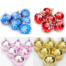 Christmas Tree Snowflake Balls 6Pcs 6cm Xmas Hanging Ornaments Home Deco... - €6,11 EUR