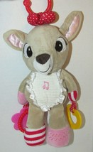 Rudolph reindeer Clarice plush musical rattle hanging clip baby toy teether - $14.84