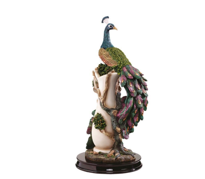 Primary image for COLORFUL PEACOCK PLINTH STATUE SCULPTURE Mom Wife Gift Zen Whimsy Bird Art Decor