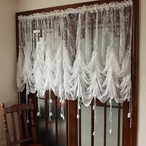 Decorative Curtains Off-White Lace Embroidered Sheer Balloon Polyester S... - $22.34