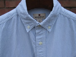 Woolrich Shirt Men's MEDIUM 100% Cotton Short Sleeve Navy Stripe White Blue - $22.24